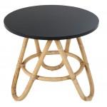 Table basse, bout de canapé DIABOLO en rotin (Ø 50 cm) (noir)