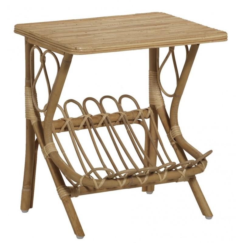 Table basse, bout de canapé LYDIE en rotin (naturel)