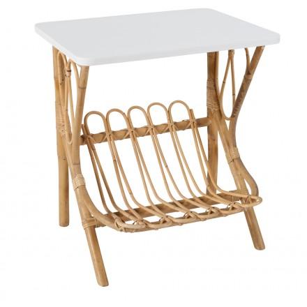 Table basse, bout de canapé LYDIE en rotin (blanc)