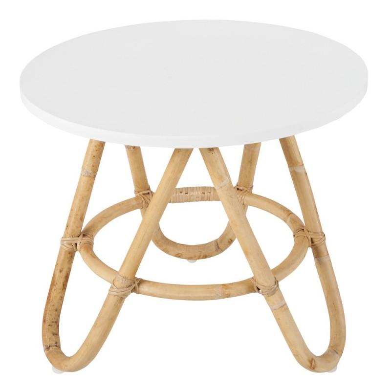 Tavolo basso, pezzo di divano rattan DIABOLO (60 cm) (bianco)