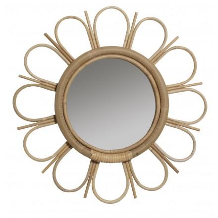Miroir en rotin MARGUERITTE style vintage