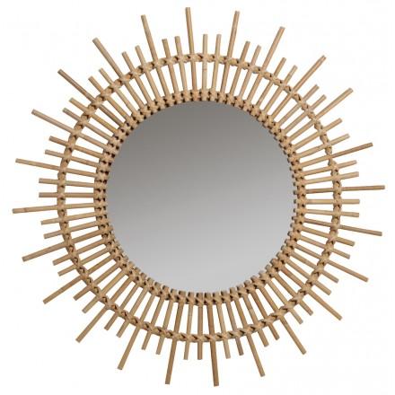 Miroir en rotin PLANETE style vintage