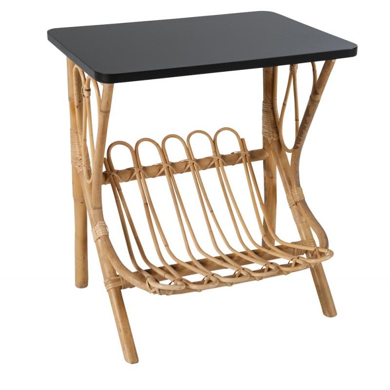 Table basse, bout de canapé LYDIE en rotin (noir) - image 44355