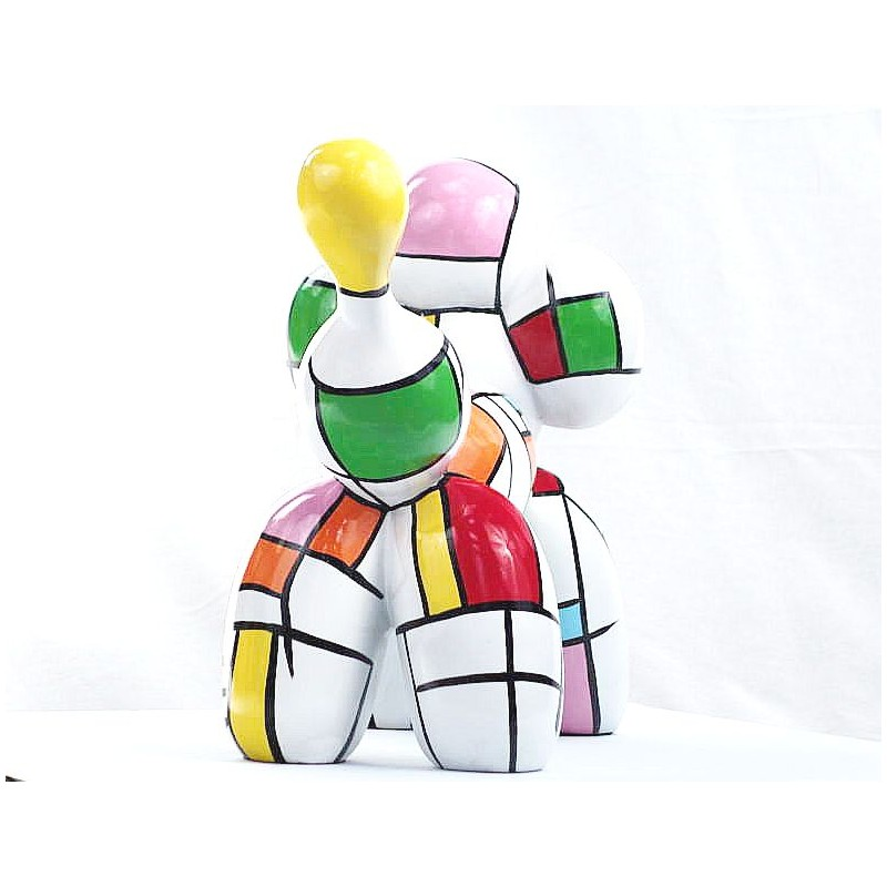 Statue dog Harlequin balloon design decorative sculpture in resin H35 (multicolor) - image 44368