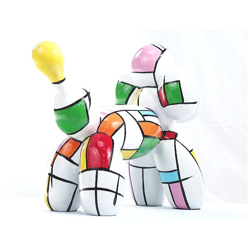 Statue dog Harlequin balloon design decorative sculpture in resin H35 (multicolor) - image 44369