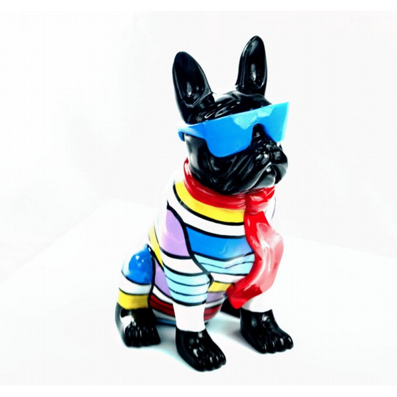 Statuette sculpture décorative design CHIEN ASSIS en résine H36 (multicolore) - image 44376