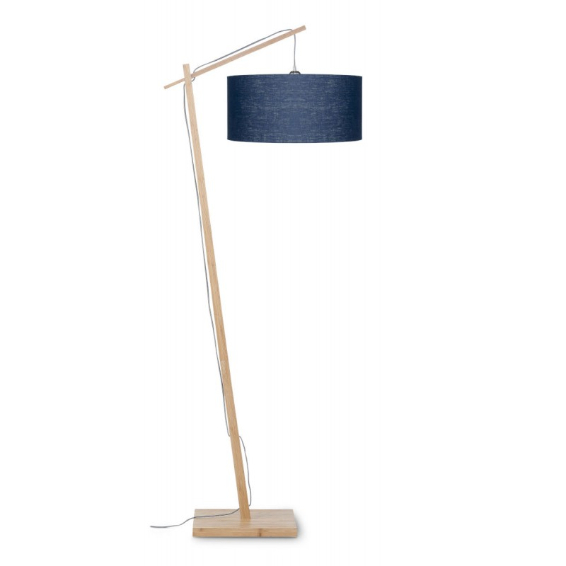 Lampe sur pied en bambou et abat-jour lin écologique ANDES (naturel, bleu jeans)