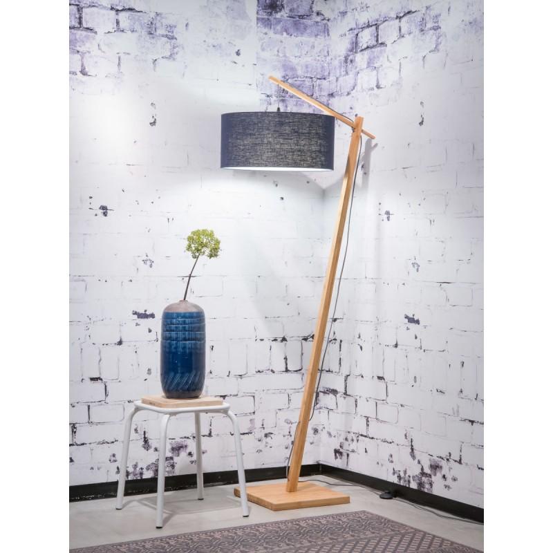 Lampe sur pied en bambou et abat-jour lin écologique ANDES (naturel, bleu jeans) - image 44429