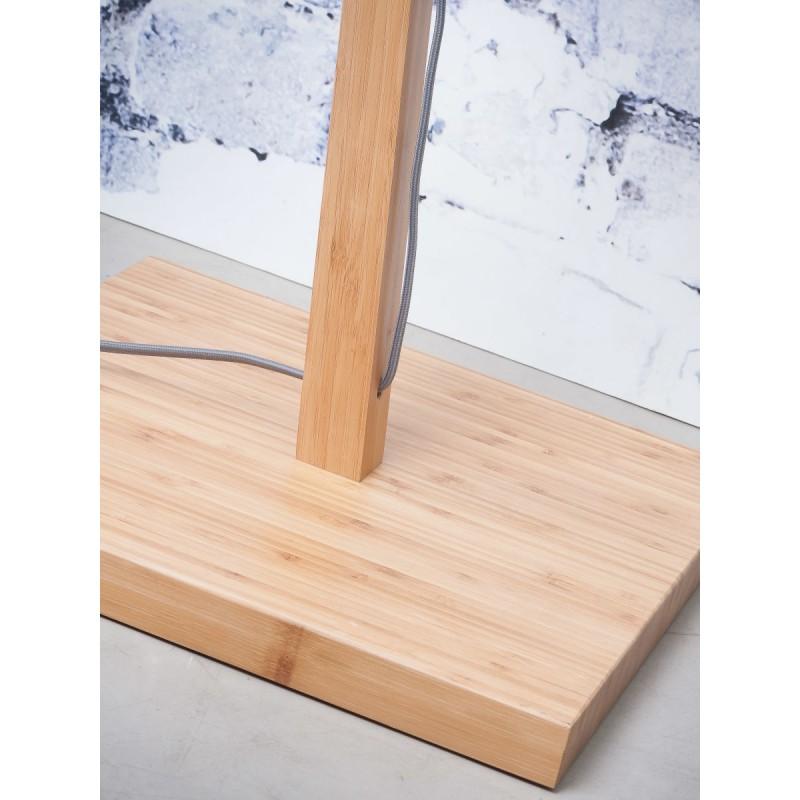 Lampe sur pied en bambou et abat-jour lin écologique ANDES (naturel, bleu jeans) - image 44430