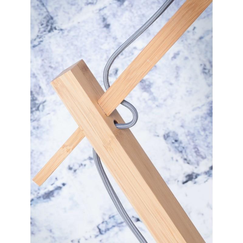 Lampe sur pied en bambou et abat-jour lin écologique ANDES (naturel, bleu jeans) - image 44431