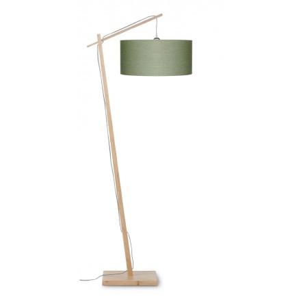 Lampe sur pied en bambou et abat-jour lin écologique ANDES (naturel, vert foncé)