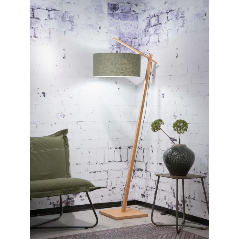 Lampe sur pied en bambou et abat-jour lin écologique ANDES (naturel, vert foncé) - image 44441