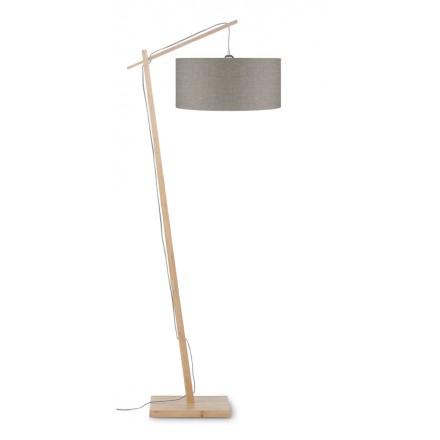 Lampe sur pied en bambou et abat-jour lin écologique ANDES (naturel, lin foncé)