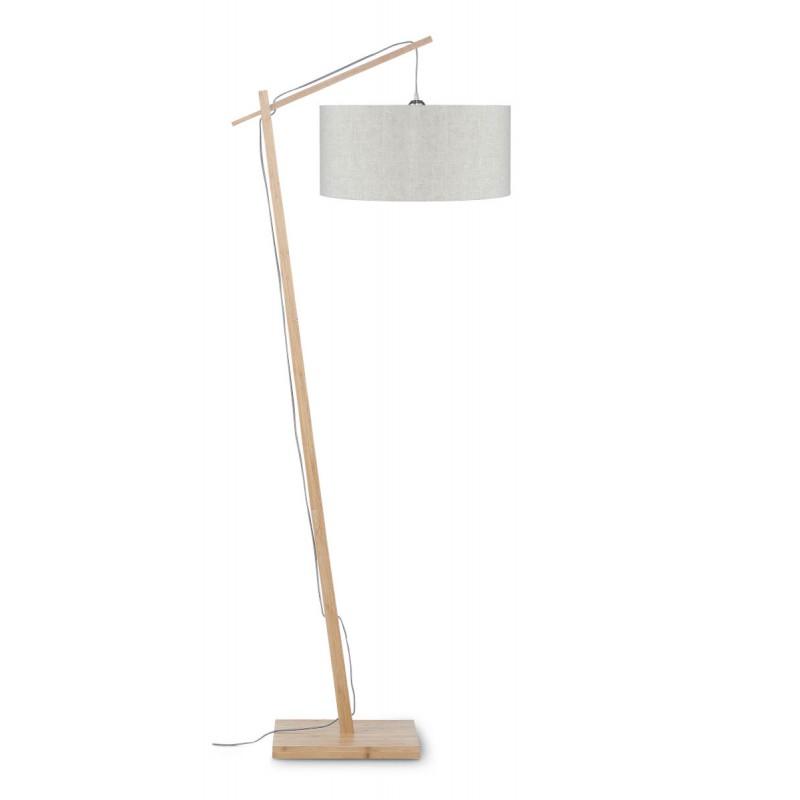 Lampe sur pied en bambou et abat-jour lin écologique ANDES (naturel, lin clair) - image 44458