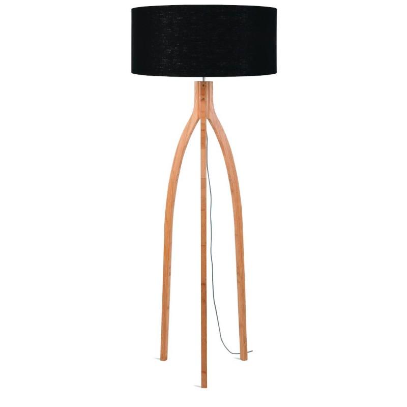 Lampe sur pied en bambou et abat-jour lin écologique ANNAPURNA (naturel, noir)