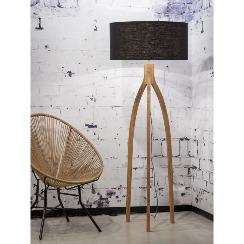 Lampe sur pied en bambou et abat-jour lin écologique ANNAPURNA (naturel, noir) - image 44471