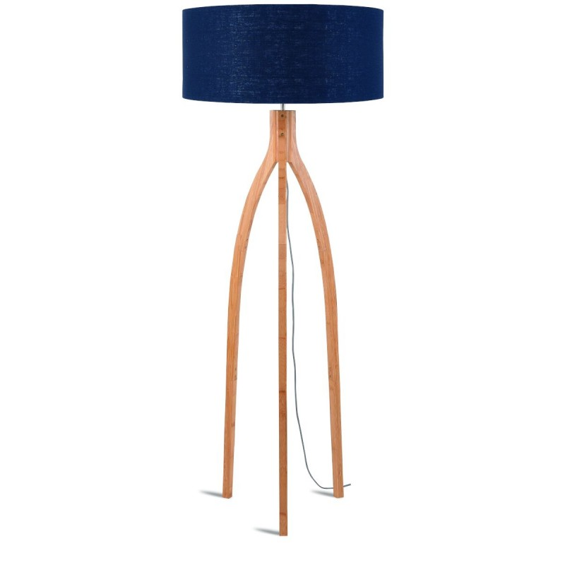 Lámpara de pie de bambú y pantalla de lino ecológica annaPURNA (jeans naturales y azules)