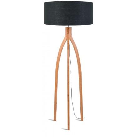 Lampe sur pied en bambou et abat-jour lin écologique ANNAPURNA (naturel, gris foncé)