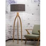 Lámpara de pie de bambú y pantalla de lino ecológica annaPURNA (natural, gris oscuro)