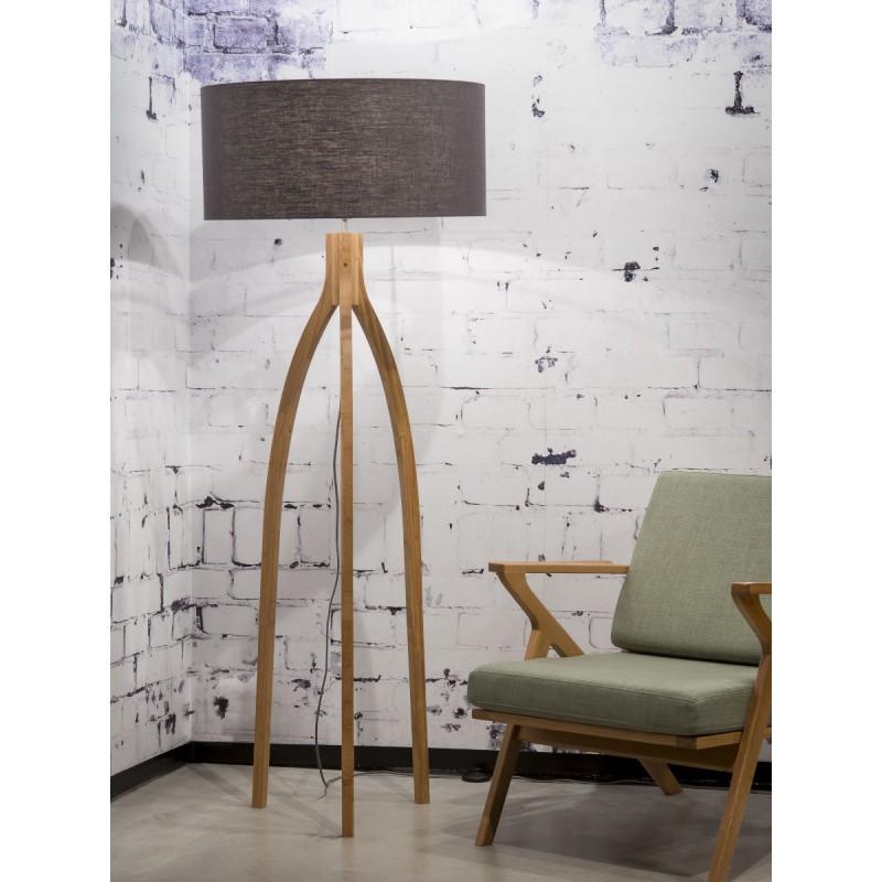 Bamboo standing lamp and annaPURNA eco-friendly linen lampshade (natural, dark grey) - image 44483