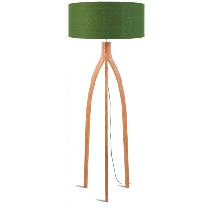 Bamboo standing lamp and annaPURNA eco-friendly linen lampshade (natural, dark green)