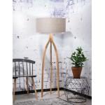 Lámpara de pie de bambú y pantalla de lino ecológica ANNAPURNA (lino natural y oscuro)
