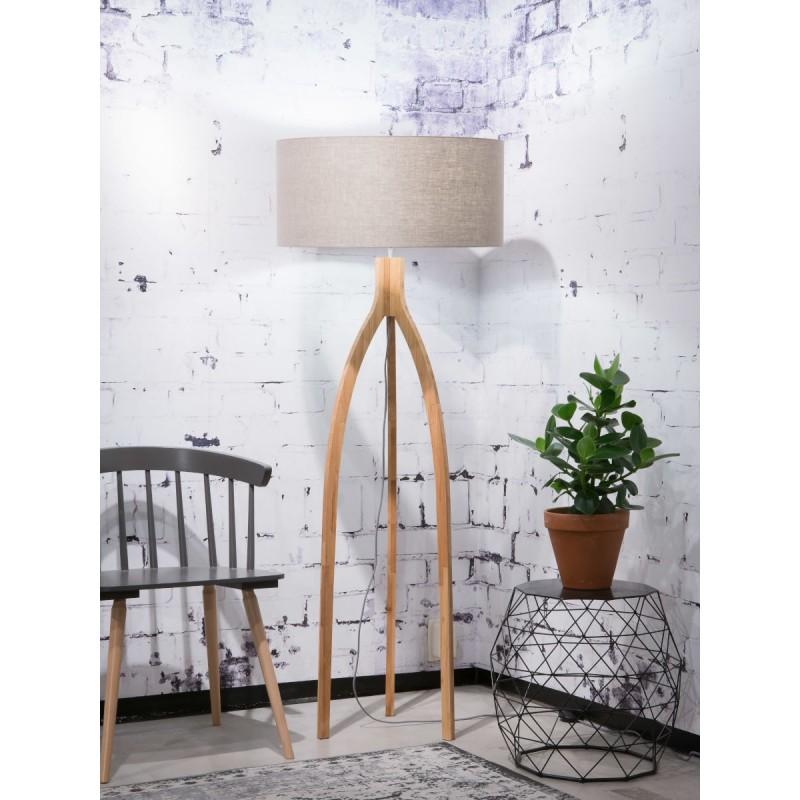 Lampada in legno in piedi e paralume di lino eco-friendly ANNAPURNA (lino naturale e scuro) - image 44494