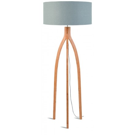 Bamboo standing lamp and ANNAPURNA eco-friendly linen lampshade (natural, light grey)