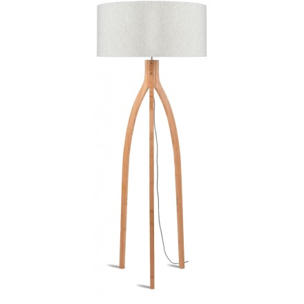 Bamboo standing lamp and annaPURNA eco-friendly linen lampshade (natural, light linen)