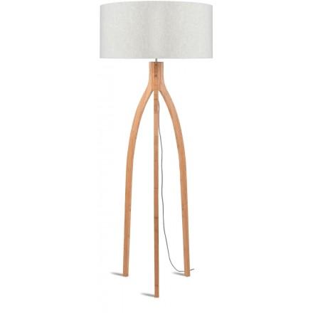 Lampada in legno in piedi e paralume di lino eco-friendly annaPURNA (lino naturale e leggero)