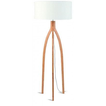 Bamboo standing lamp and annaPURNA eco-friendly linen lampshade (natural, white)