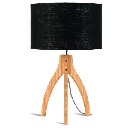 Bambus Tischleuchte und annaPURNA umweltfreundliche Leinenlampe (natürlich, schwarz)
