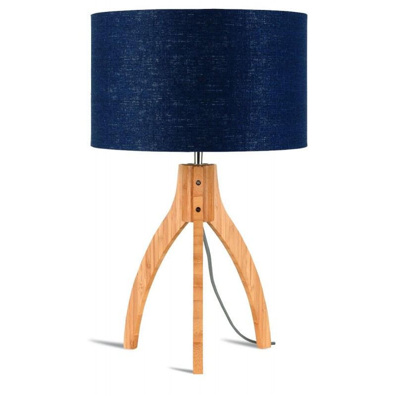 Bamboo table lamp and annaPURNA eco-friendly linen lampshade (natural, blue jeans) - image 44518