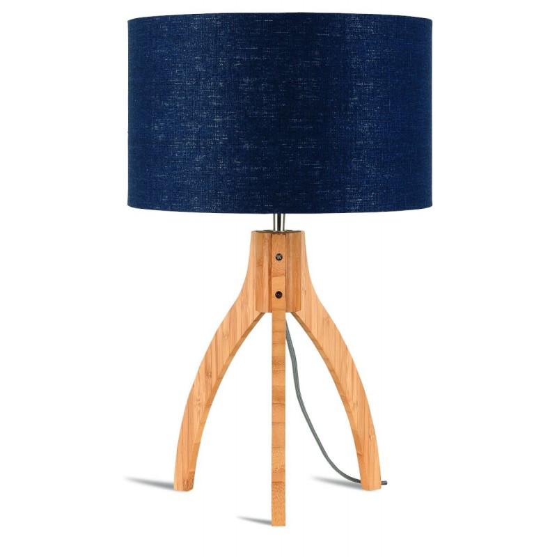 Lampe de table en bambou et abat-jour lin écologique ANNAPURNA (naturel, bleu jeans) - image 44518