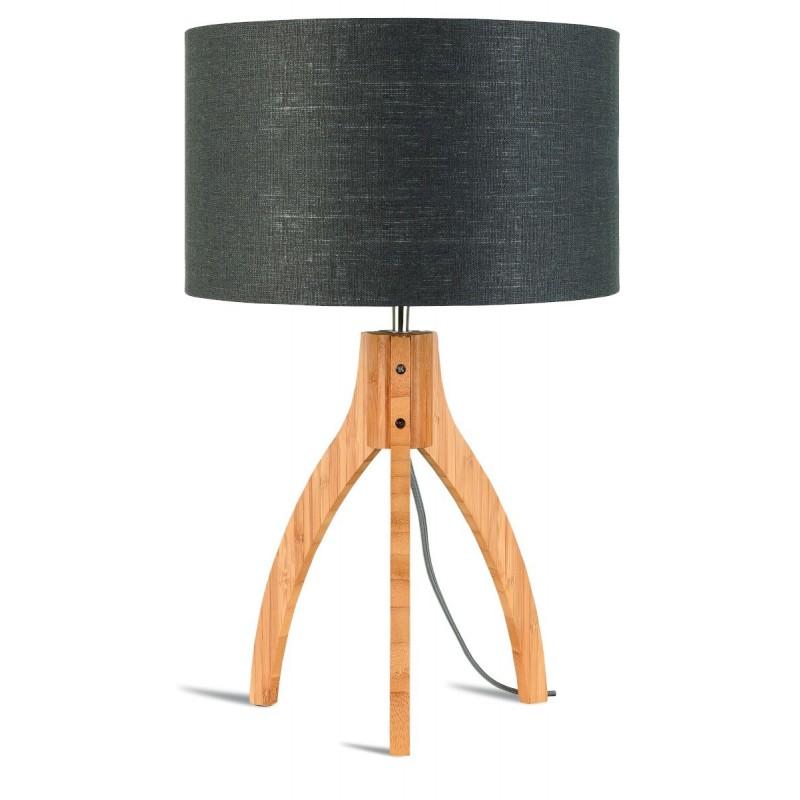 Bambus Tischleuchte und annaPURNA umweltfreundliche Leinenlampe (natürlich, dunkelgrau)
