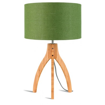 Bamboo table lamp and annaPURNA eco-friendly linen lamp (natural, dark green)
