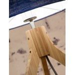 Bamboo table lamp and annaPURNA eco-friendly linen lamp (natural, dark green)