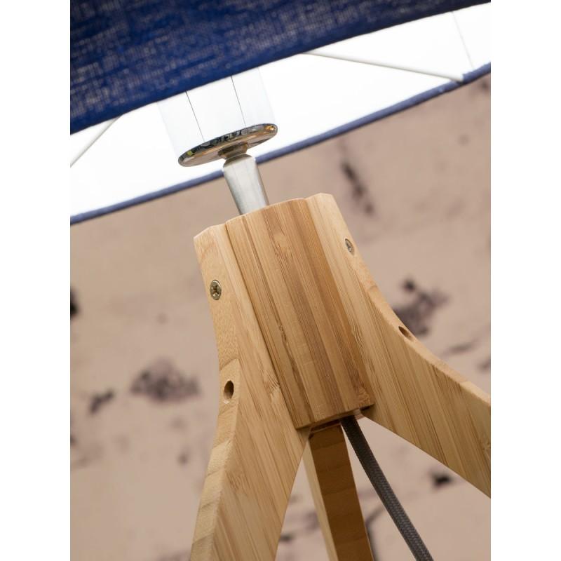 Bamboo table lamp and annaPURNA eco-friendly linen lamp (natural, dark green) - image 44529