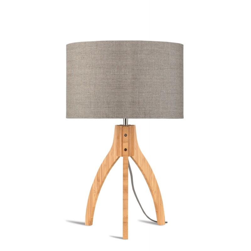 Lampe de table en bambou et abat-jour lin écologique ANNAPURNA (naturel, lin foncé) - image 44530