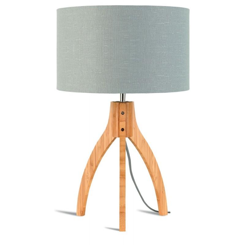 Bamboo table lamp and annaPURNA eco-friendly linen lamp (natural, light grey) - image 44533