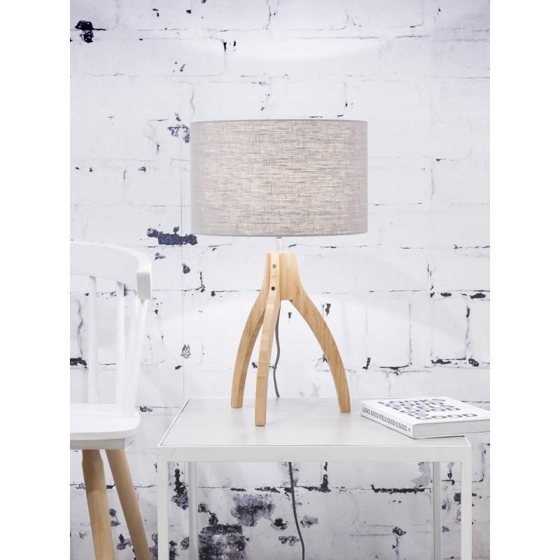 Lampe de table en bambou et abat-jour lin écologique ANNAPURNA (naturel, gris clair) - image 44534