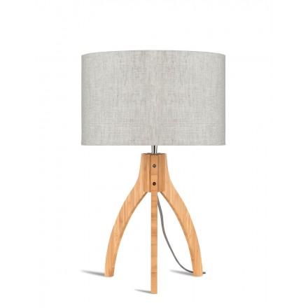 Bambus Tischleuchte und annaPURNA umweltfreundliche Leinenlampe (natürliche, leichte Leinen)