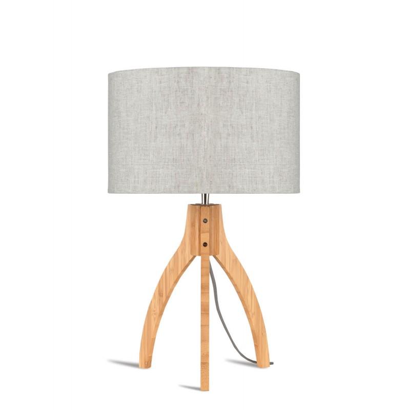 Lámpara de mesa de bambú y lámpara de lino ecológica annaPURNA (natural, lino claro)