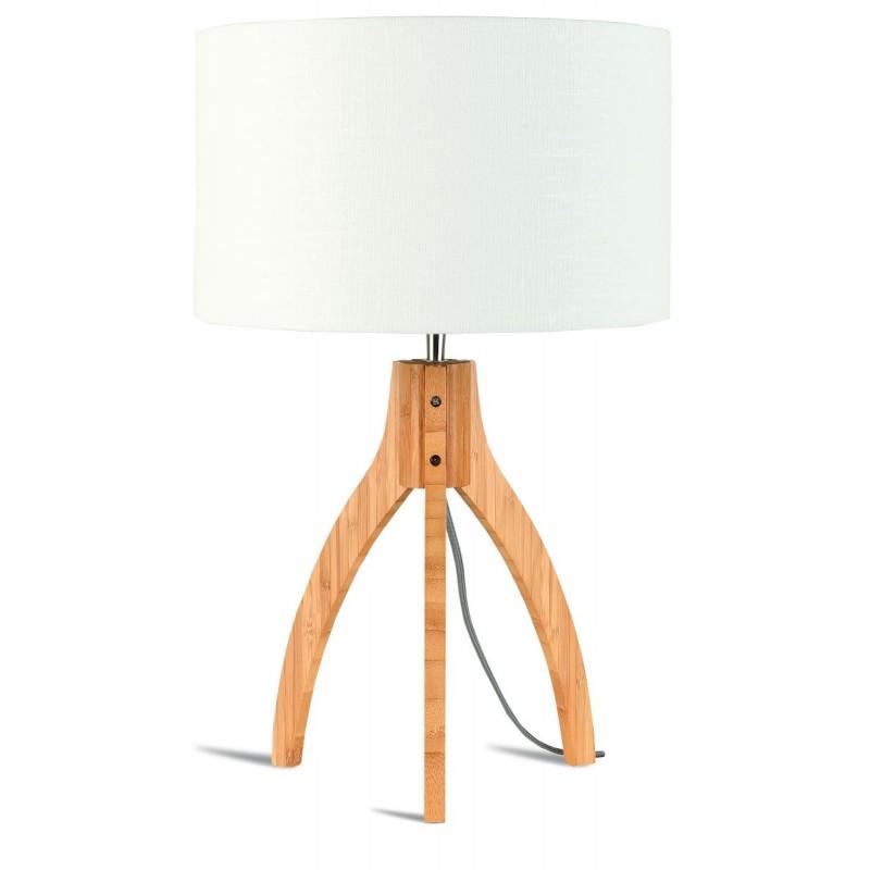 Lámpara de mesa de bambú y lámpara de lino ecológica annaPURNA (natural, blanca)