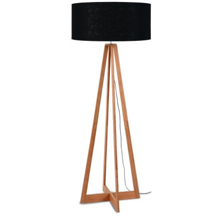 EverEST (natural, black) bamboo standing lamp and ecological linen lampshade