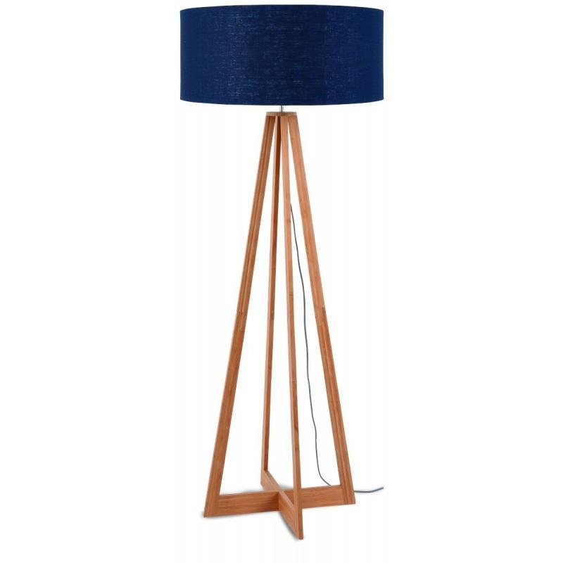 Lámpara de pie de bambú EverEST y pantalla de lino verde (jeans naturales y azules)