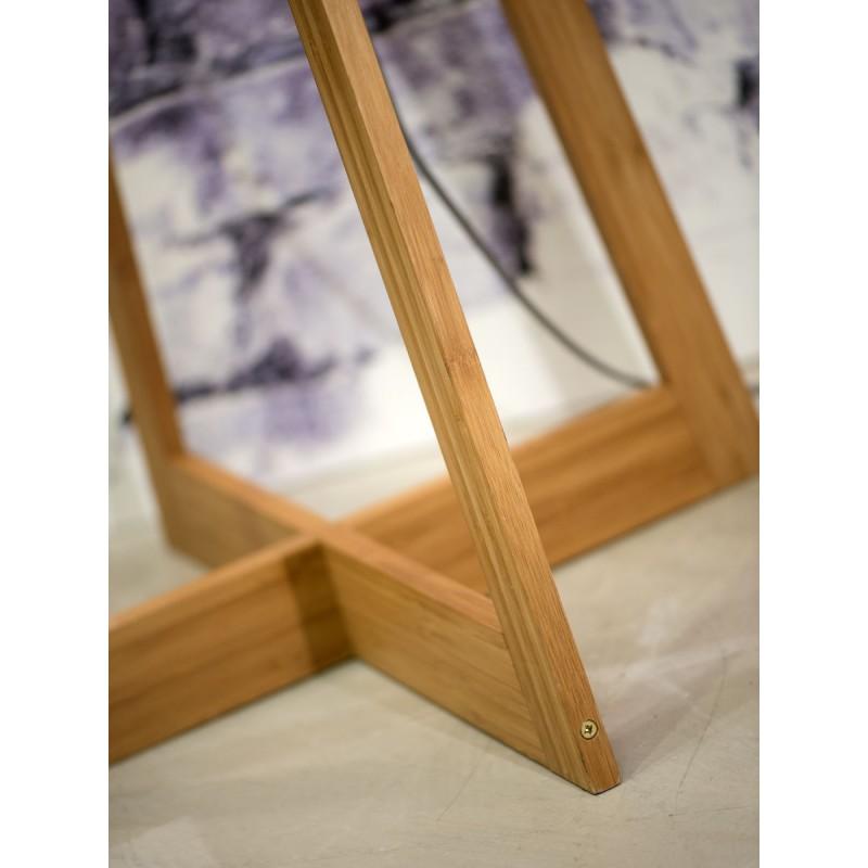 Lampe sur pied en bambou et abat-jour lin écologique EVEREST (naturel, bleu jeans) - image 44553
