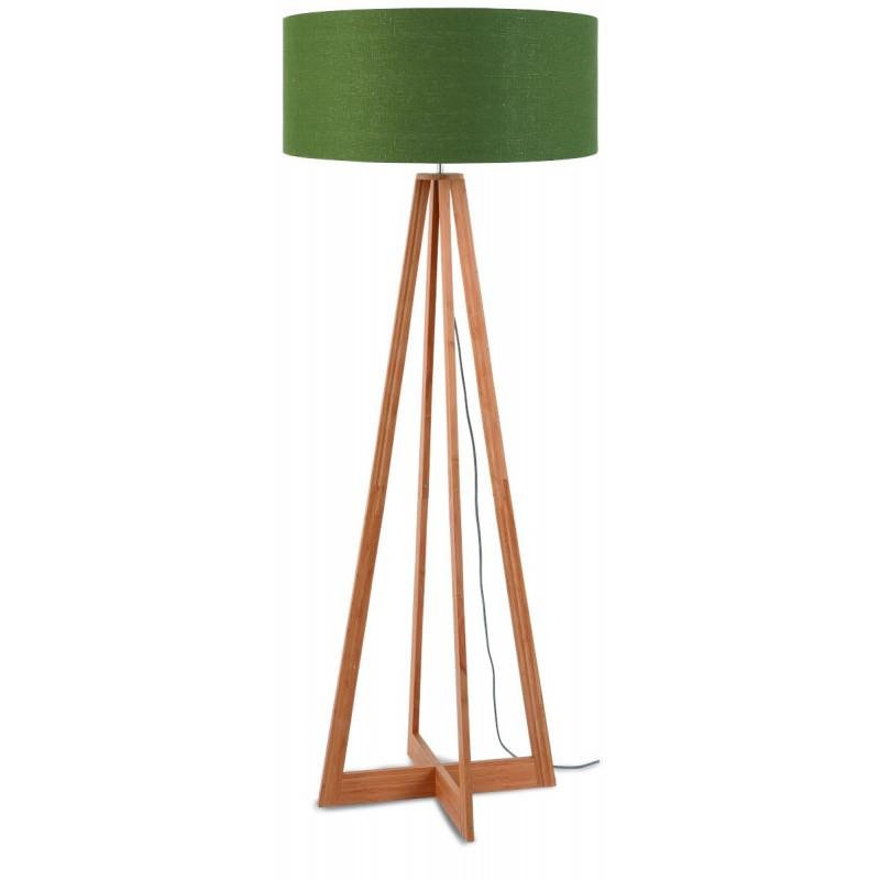 Lampe sur pied en bambou et abat-jour lin écologique EVEREST (naturel, vert foncé)
