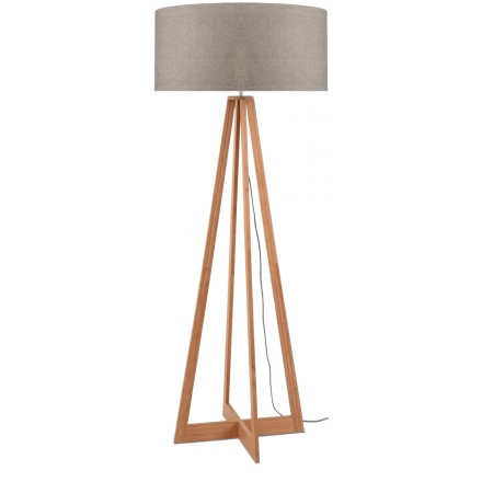 EverEST bamboo standing lamp and ecological linen lampshade (natural, dark linen)