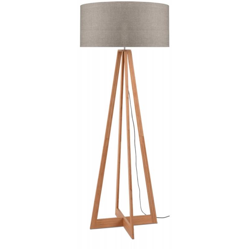 EverEST Bambus Stehlampe und ökologische Leinen Lampenschirm (natürliche, dunkle Leinen)